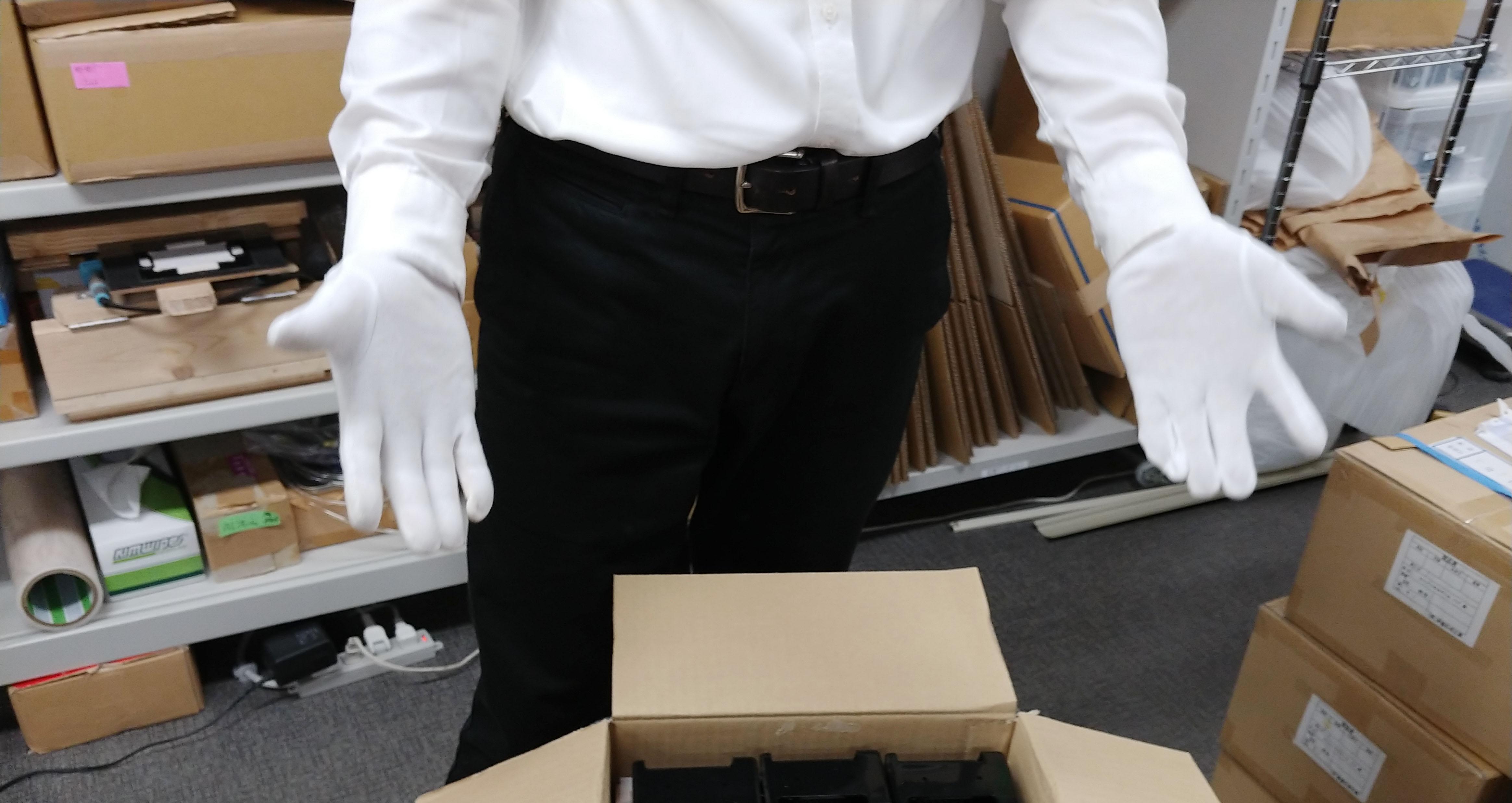 製品検品用の白手袋
